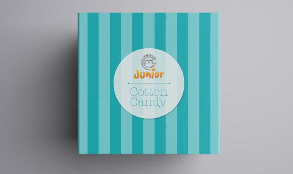 Packagine per a Masterchef Junior del nou producte Cotton Candy. Vista de la tapa.