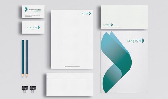 Imatge de les aplicacions del disseny de la imatge corporativa de Clayton Baltics, targeta, sobre, paper de carta.