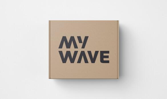 Disseny logotip MyWave de Compañía general de Ideas aplicació en pack