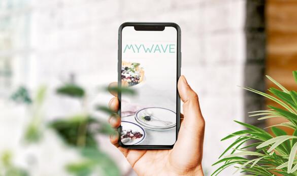 Diseño logotipo MyWave de Compañía General de Ideas imagen aplicación en móvil