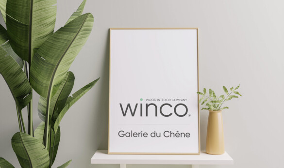 Diseño logotipo Winco de Compañía General de Ideas imagen aplicación en un cartel