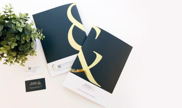 Compañía General de Ideas diseño de tarjeta y carpeta para Pradera Gonzalez procuradores